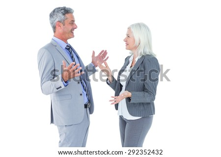 businesswoman angry against her colleague arguing on white background