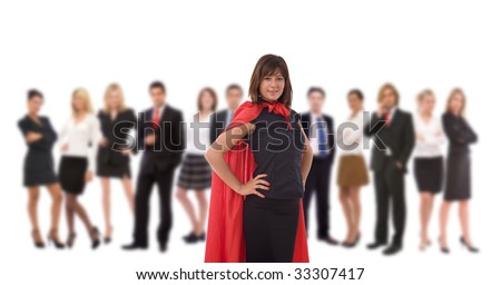 businesswoman as a hero with her team on white - stock photo