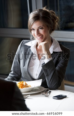 Businesswoman at The Restaurant - stock photo