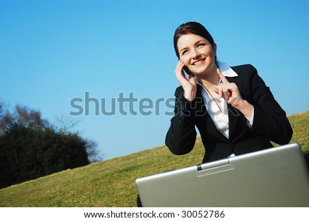 Businesswoman at work outdoors