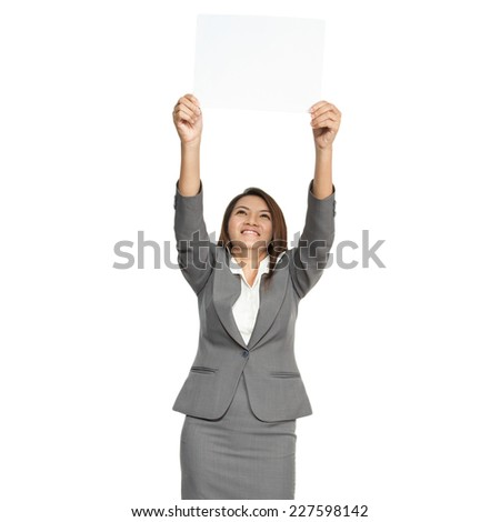 Businesswoman attractive young pretty in office standing enjoy using a pen writing diary note book smiling positive  on white background