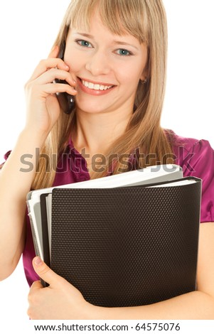 Businesswoman calling by phone and smiling - stock photo