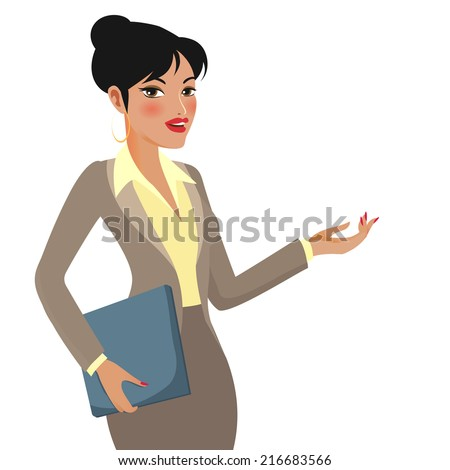 Businesswoman Cartoon Character Making Presentations on White Background