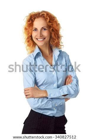 businesswoman. Casual portrait of redhead female businessperson smiling isolated on white background in studio. Young professional in her 30s. - stock photo