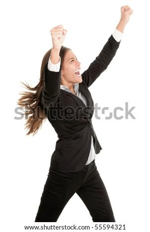 Businesswoman celebrating success isolated on white background. - stock photo