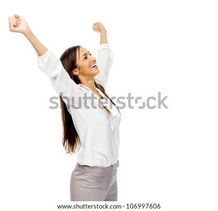 Businesswoman celebrating victory and cheering with arms up in excitement. isolated on white background. - stock photo