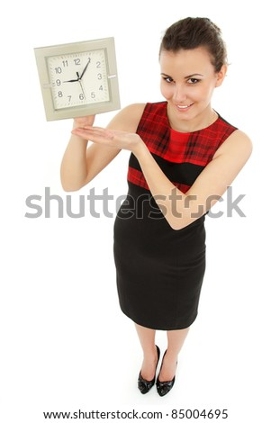 businesswoman cheerful holding clock isolated on white background - stock photo