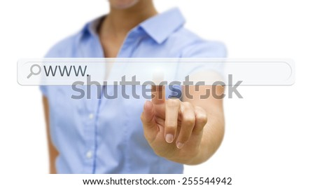 Businesswoman clicking on tactile interface web address bar - stock photo