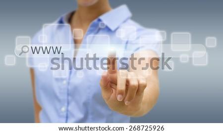 Businesswoman cliking on tactile interface web address bar��� - stock photo