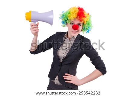Businesswoman clown with loudspeaker isolated on white - stock photo