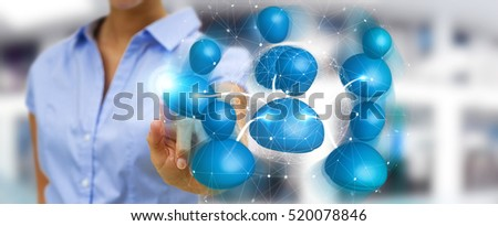 Businesswoman connecting blue icon social network with his finger 3D rendering
