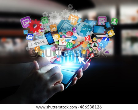 Businesswoman connecting icons applications to her phone 3D rendering