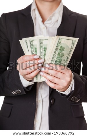 businesswoman counting money isolated on white background