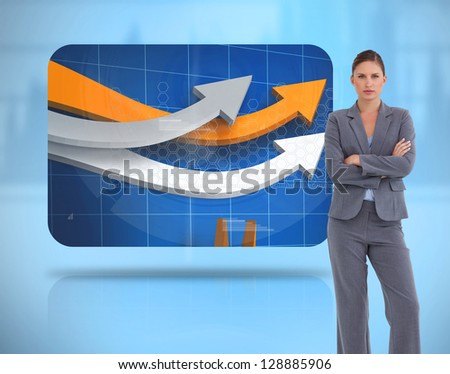 Businesswoman crossed arms near to a digital screen levitating