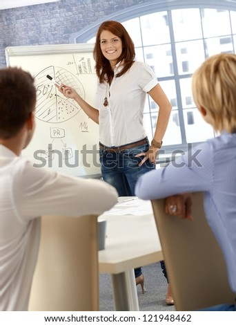Businesswoman doing presentation, explaining diagram to coworkers, smiling confidently. - stock photo