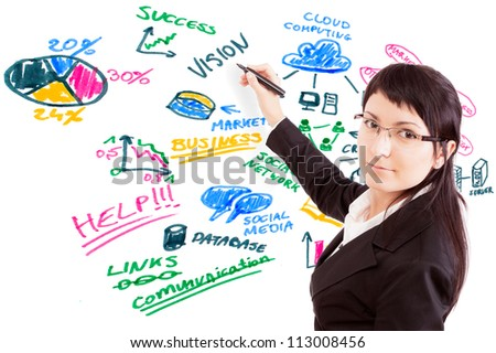 Businesswoman draw modern business concept. Social issues. - stock photo