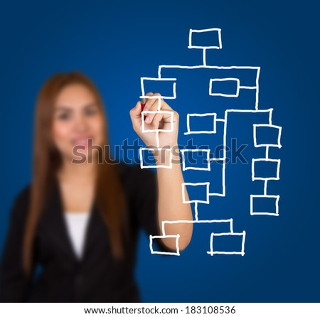 Businesswoman drawing a chart on blue background.
