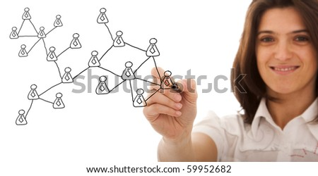 businesswoman drawing a social network scheme on a whiteboard (selective focus) - stock photo