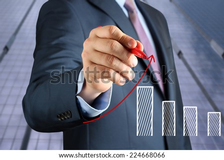 Businesswoman  drawing a virtual  graph by  a red pen  - stock photo