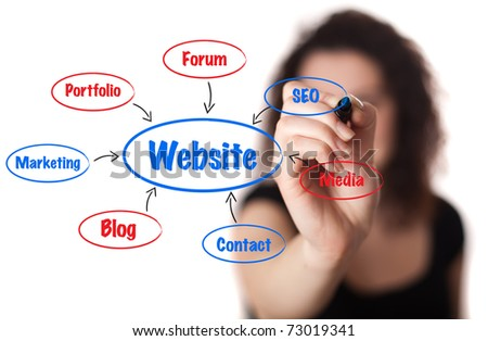 businesswoman drawing a website schema in a whiteboard