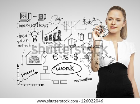 businesswoman drawing and business concept - stock photo