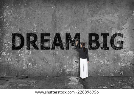 businesswoman drawing dream big on the wall