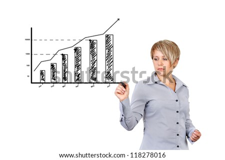 businesswoman drawing graph of business growth - stock photo