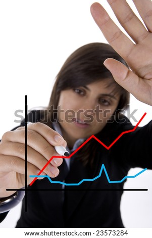 businesswoman drawing sales chart in white board - stock photo