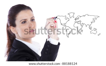 businesswoman drawing the world map in a whiteboard (selective focus) - stock photo