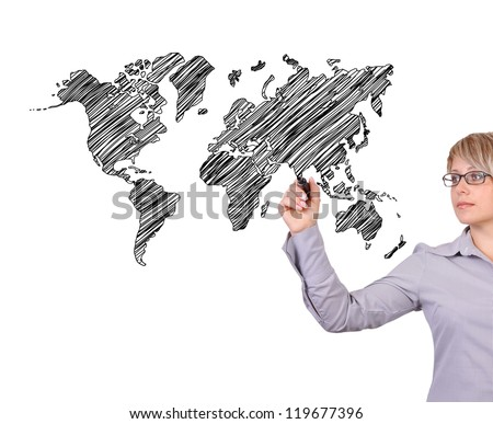 businesswoman drawing world map on white background - stock photo