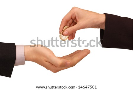businesswoman exchanging coins by hand to a businessman