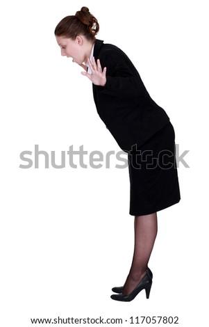 Businesswoman falling - stock photo