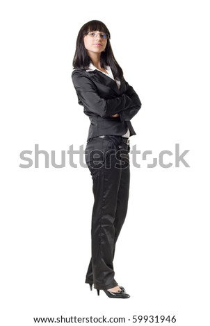 Businesswoman folding her arms. Isolated On White