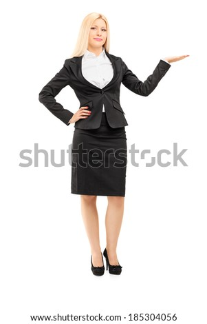 Businesswoman gesturing with hand isolated on white background