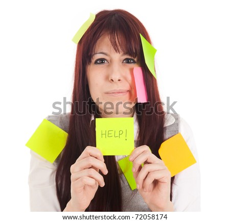 Businesswoman getting mad covered with sticky notes and asking for help - stock photo