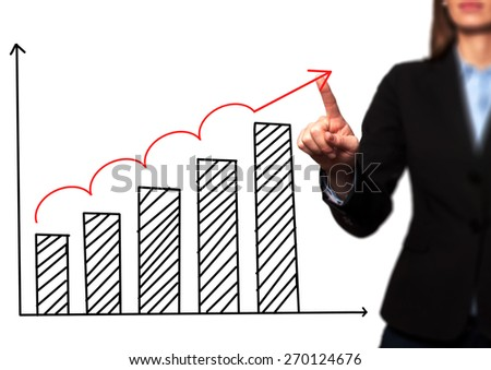 Businesswoman hand drawing growth graph on visual screen. Isolated on white. Women finger on graph.  Business, internet, technology concept. Stock Image - stock photo