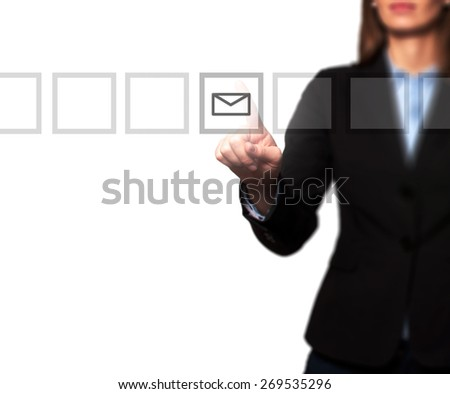 Businesswoman hand press mail icon button on visual screen. Women finger on mail icon. Isolated on white. Business, technology, internet concept. Stock Image - stock photo