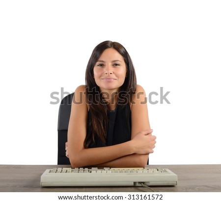 Businesswoman happy and satisfied with her work - stock photo