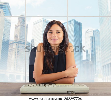 Businesswoman happy to be arrived at top - stock photo