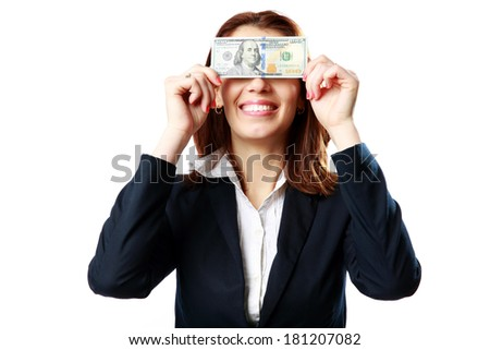 Businesswoman having fun with US dollars isolated on white background - stock photo
