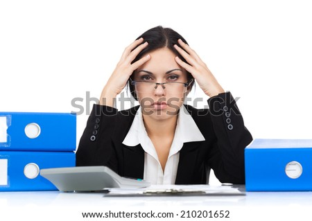 Businesswoman hold hands on temples head, business woman concept of stressed, headache, depressed, pain, sitting desk isolated over white background - stock photo