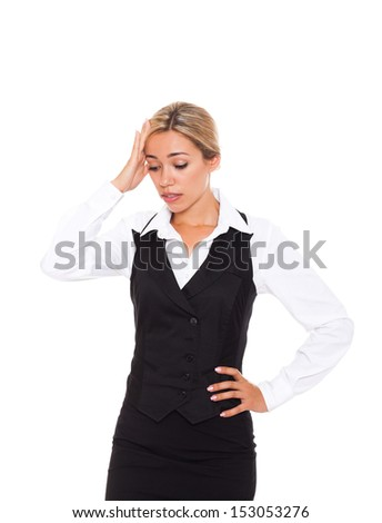 Businesswoman hold hands on temples head, young attractive business woman concept of business woman stressed, headache, depressed, pain, isolated over white background