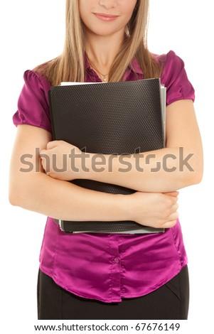 Businesswoman holding a black folder  isolated - stock photo