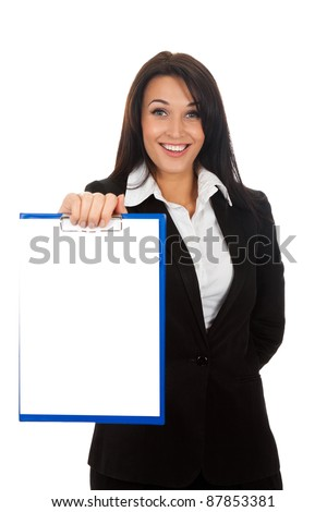 businesswoman holding a blank white board, clipboard isolated over white background - stock photo