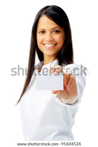 Businesswoman holding a empty sign, isolated on white with selective focus - stock photo