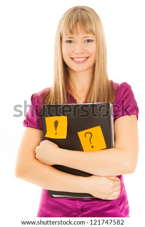 Businesswoman holding a folder with sticky isolated on white - stock photo