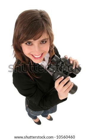Businesswoman holding binoculars - stock photo