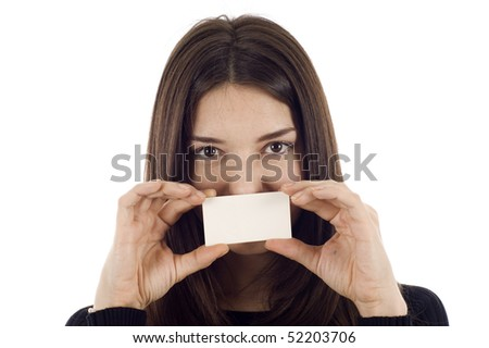 Businesswoman holding blank empty sign, covering her mouth, the focus is on the business card isolated over white background