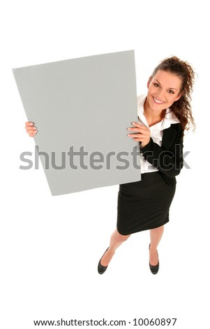 Businesswoman holding blank poster - stock photo