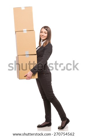 Businesswoman holding  boxes and getting ready for moving - isolated on white background. - stock photo